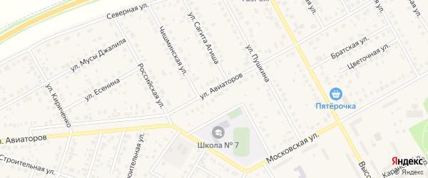 Улица Авиаторов на карте Давлеканово с номерами домов