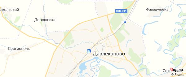 Карта Давлеканово с районами, улицами и номерами домов