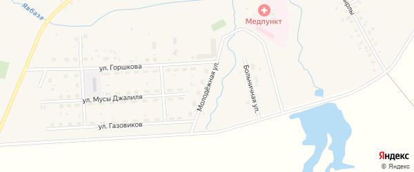 Молодежная улица на карте села Москово Башкортостана с номерами домов