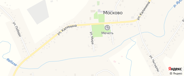 Улица Мира на карте села Москово Башкортостана с номерами домов