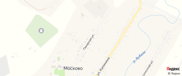 Пекарная улица на карте села Москово Башкортостана с номерами домов