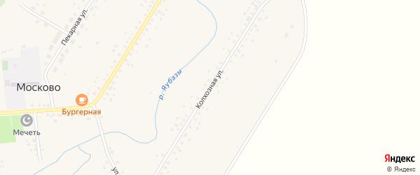 Колхозная улица на карте села Москово Башкортостана с номерами домов