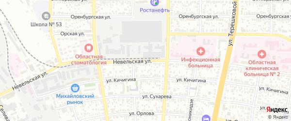 Невельская улица на карте Оренбурга с номерами домов