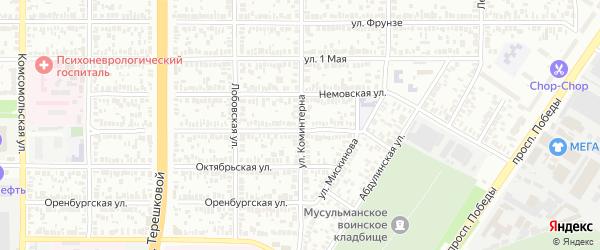 Улица Коминтерна на карте Оренбурга с номерами домов