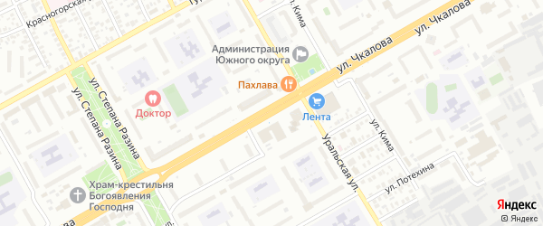 Улица Чкалова на карте Оренбурга с номерами домов