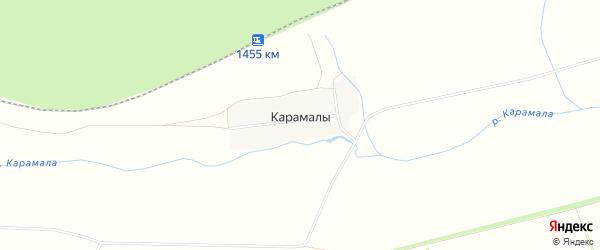 Карта деревни Карамалы в Башкортостане с улицами и номерами домов