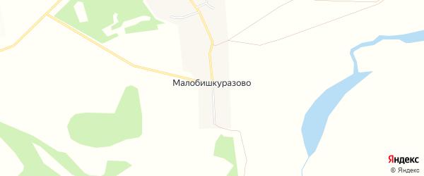 Карта деревни Малобишкуразово в Башкортостане с улицами и номерами домов