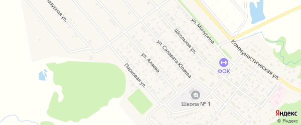 Улица Аляева на карте села Федоровки Башкортостана с номерами домов