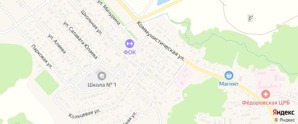 Школьный переулок на карте села Федоровки Башкортостана с номерами домов