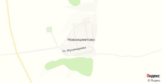 Карта деревни Новоишметово в республике Башкортостан с улицами, домами и почтовыми отделениями со спутника онлайн