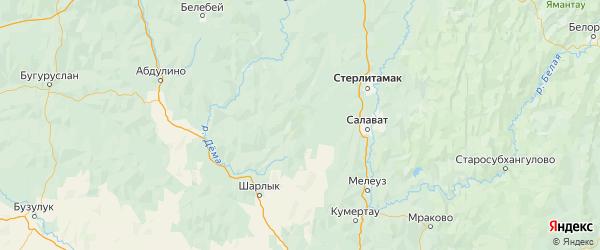 Карта Стерлибашевского района Республики Башкортостана с городами и населенными пунктами