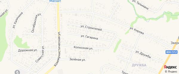 Улица Гагарина на карте села Федоровки Башкортостана с номерами домов