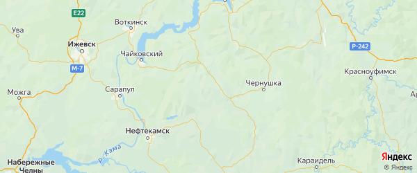 Карта Куединского района Пермского края с городами и населенными пунктами