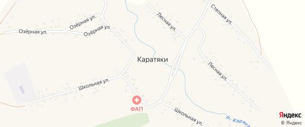Школьная улица на карте села Каратяков Башкортостана с номерами домов
