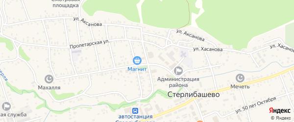 Улица Островского на карте села Стерлибашево Башкортостана с номерами домов