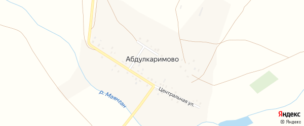 Центральная улица на карте деревни Абдулкаримово с номерами домов