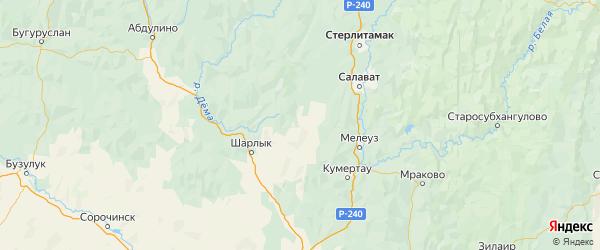 Карта Федоровского района Республики Башкортостана с городами и населенными пунктами
