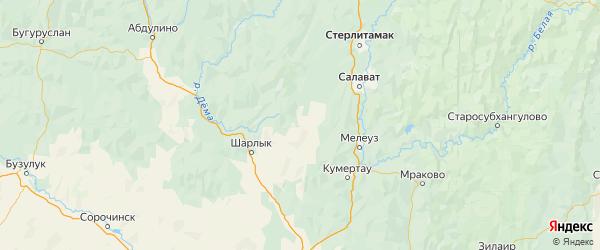Карта Федоровского района республики Башкортостан с населенными пунктами и городами