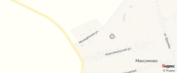Молодежная улица на карте села Максимово с номерами домов
