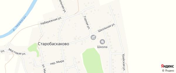 Школьная улица на карте деревни Старобаскаково с номерами домов