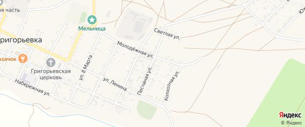 Песчанная улица на карте села Григорьевки Оренбургской области с номерами домов