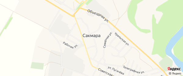 Карта села Сакмары в Оренбургской области с улицами и номерами домов