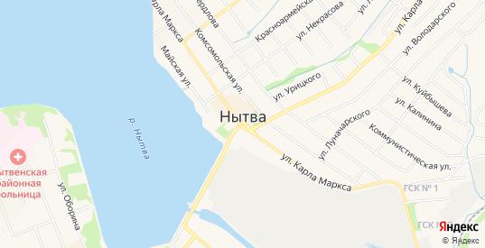 Карта поселка Кирпичный в Нытве с улицами, домами и почтовыми отделениями со спутника онлайн