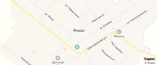 Лесной переулок на карте села Ямады Башкортостана с номерами домов