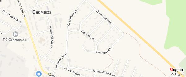 Лесная улица на карте села Сакмары Оренбургской области с номерами домов