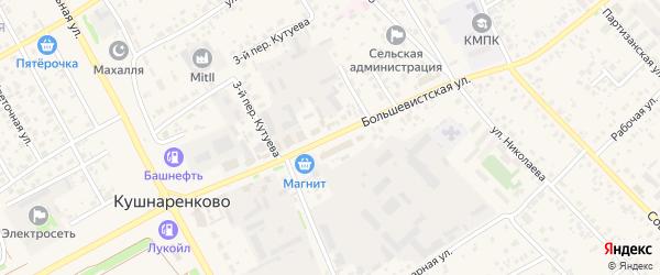 Большевистская улица на карте села Кушнаренково с номерами домов
