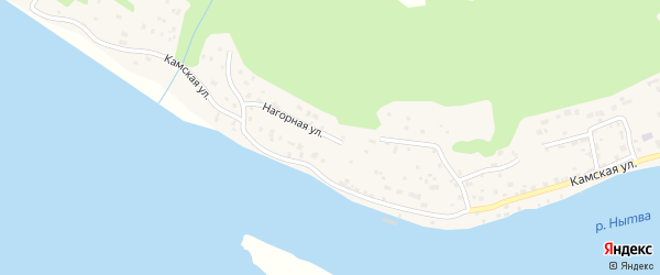 Нагорная улица на карте Нытвы с номерами домов