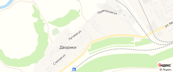 Раздольная улица на карте села Дворики Оренбургской области с номерами домов