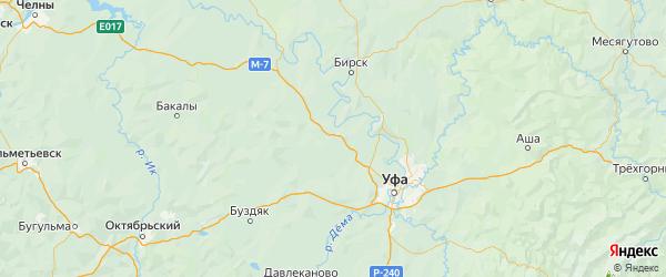 Карта Кушнаренковского района Республики Башкортостана с городами и населенными пунктами