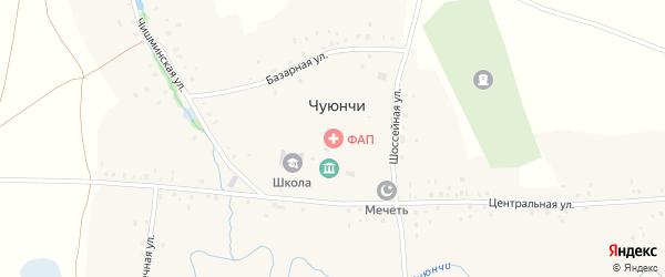 Центральная улица на карте села Чуюнчи Башкортостана с номерами домов