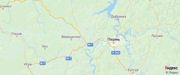 Карта Нытвенского района Пермского края с городами и населенными пунктами