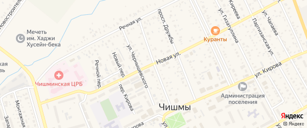 Улица Салавата Юлаева на карте поселка Чишмы Башкортостана с номерами домов