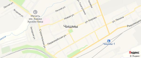 Карта поселка Чишмы в Башкортостане с улицами и номерами домов
