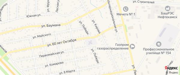 Улица Победы на карте села Бураево с номерами домов
