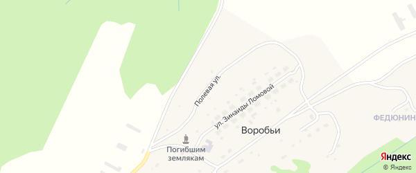 Полевая улица на карте села Воробьи Пермского края с номерами домов