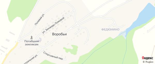 Улица Строителей на карте села Воробьи Пермского края с номерами домов