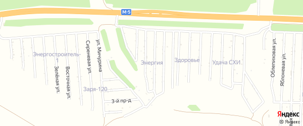 Яблоневая улица на карте садового некоммерческого товарищества Энергии с номерами домов