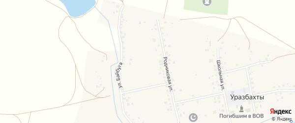 Родниковая улица на карте села Уразбахтов Башкортостана с номерами домов