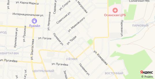 Карта территории гк ПМК-3 Котельная в Осе с улицами, домами и почтовыми отделениями со спутника онлайн