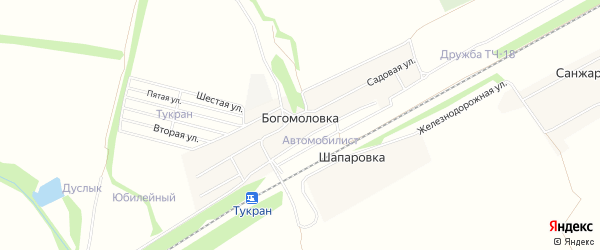 СТ СНО Автомобилист на карте деревни Богомоловки с номерами домов