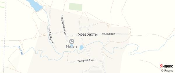 Садовое товарищество ДНТ Алкинские пруды на карте села Уразбахтов Башкортостана с номерами домов