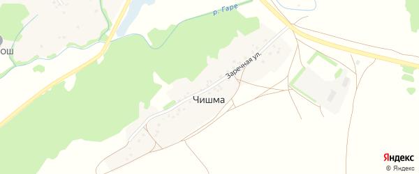 Заречная улица на карте деревни Чишмы Башкортостана с номерами домов