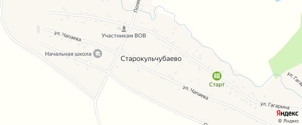 Речной переулок на карте деревни Старокульчубаево Башкортостана с номерами домов