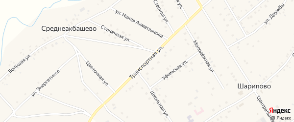 Транспортная улица на карте села Шарипово с номерами домов
