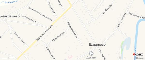 Молодёжная улица на карте села Шарипово Башкортостана с номерами домов