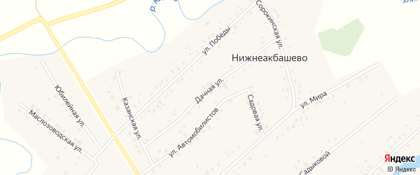 Дачная улица на карте деревни Нижнеакбашево Башкортостана с номерами домов